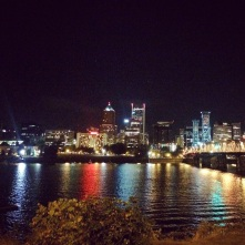 Portland Skyline, Night Biking's the best!